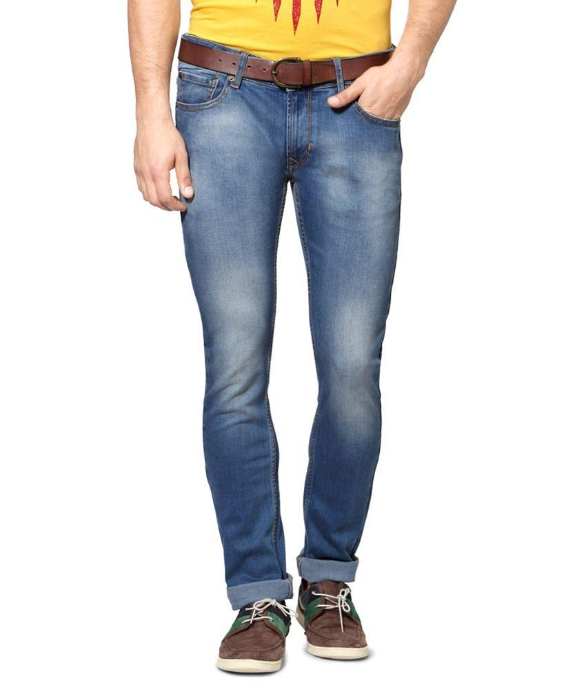 People Blue Cotton Blend Slim Fit Jeans