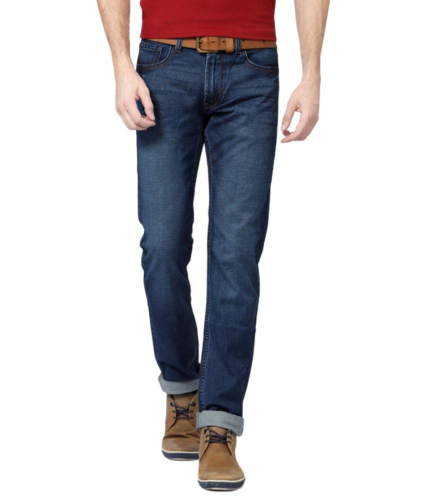 Peter England Blue Cotton Blend Slim Fit Jeans