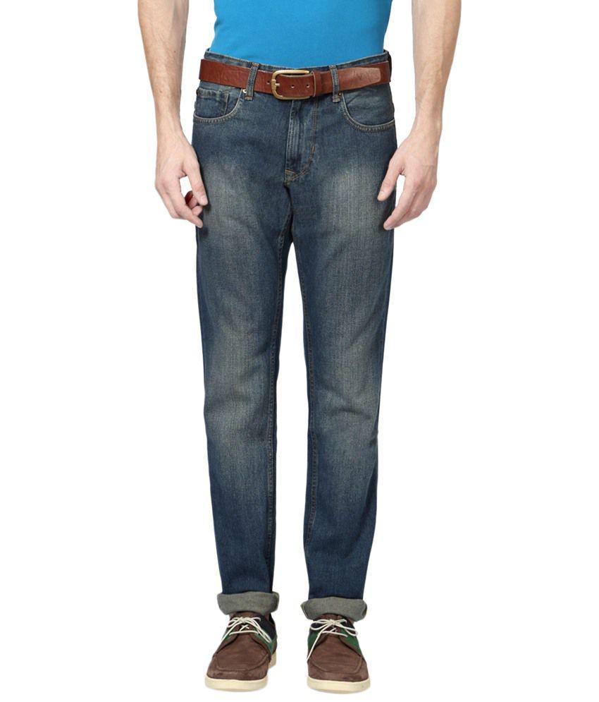 Peter England Blue Cotton Blend Regular Fit Jeans