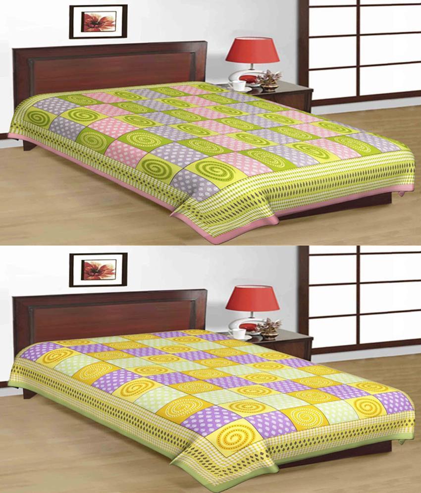 UniqChoice 100% Cotton Jaipuri & Sanganeri Tradititional 2 Single Bed Sheet Combo