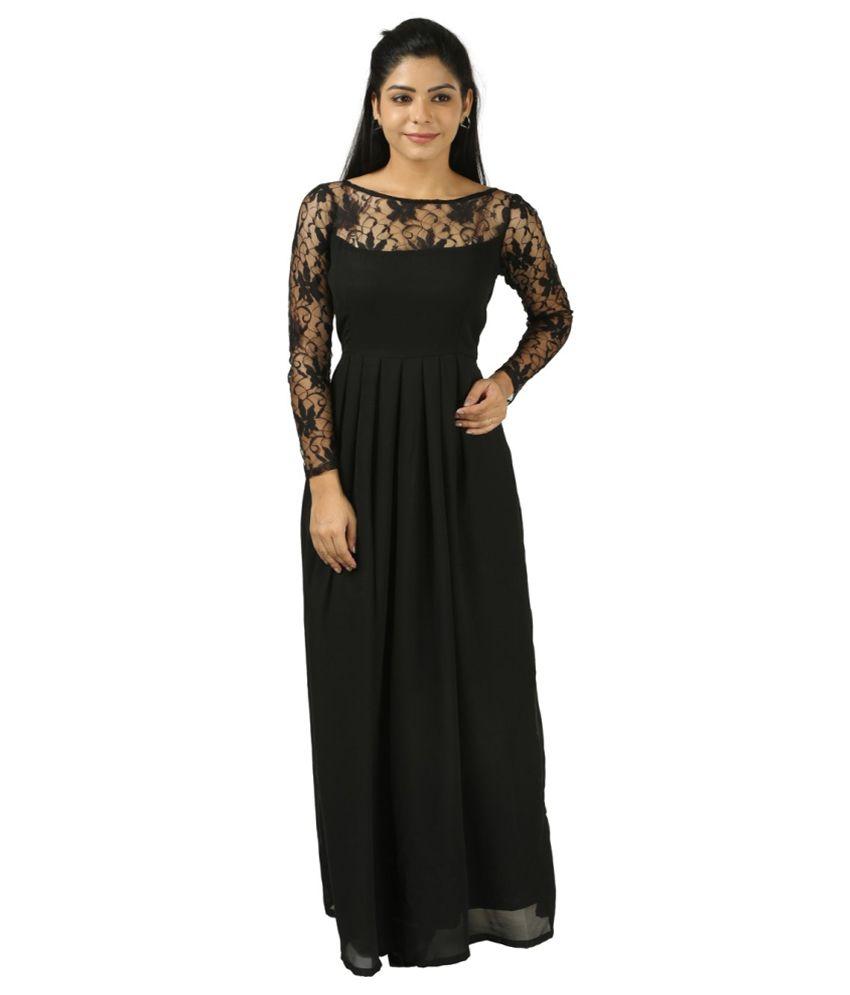 Vuvea Black Poly Georgette Dresses Buy Vuvea Black Poly