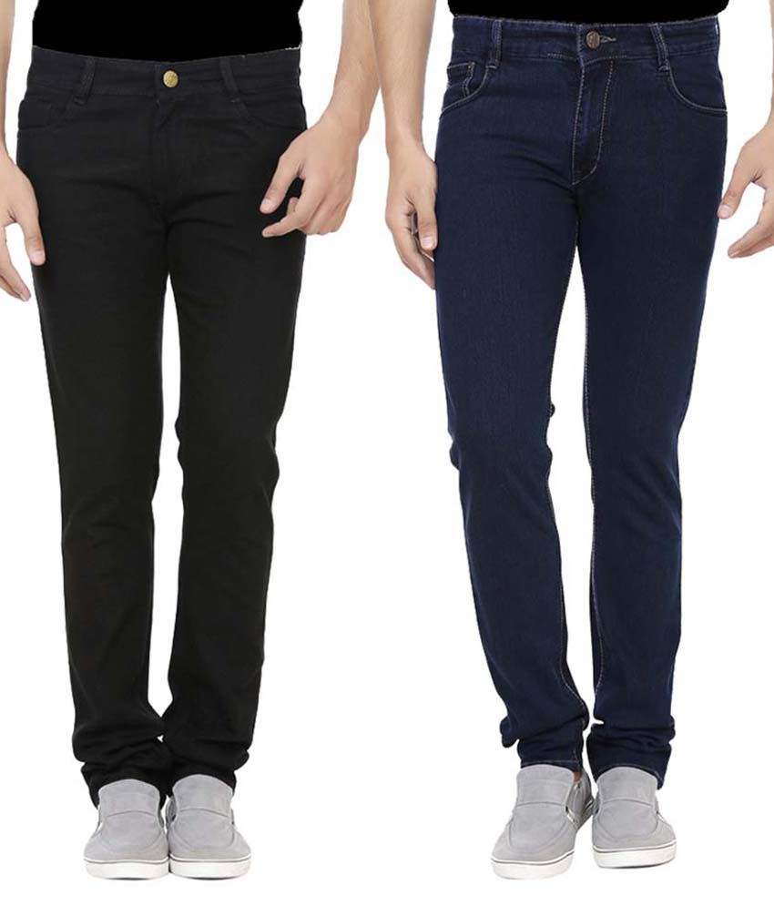 Ansh Fashion Wear Multicolor Regular Fit Jeans Pack Of 2