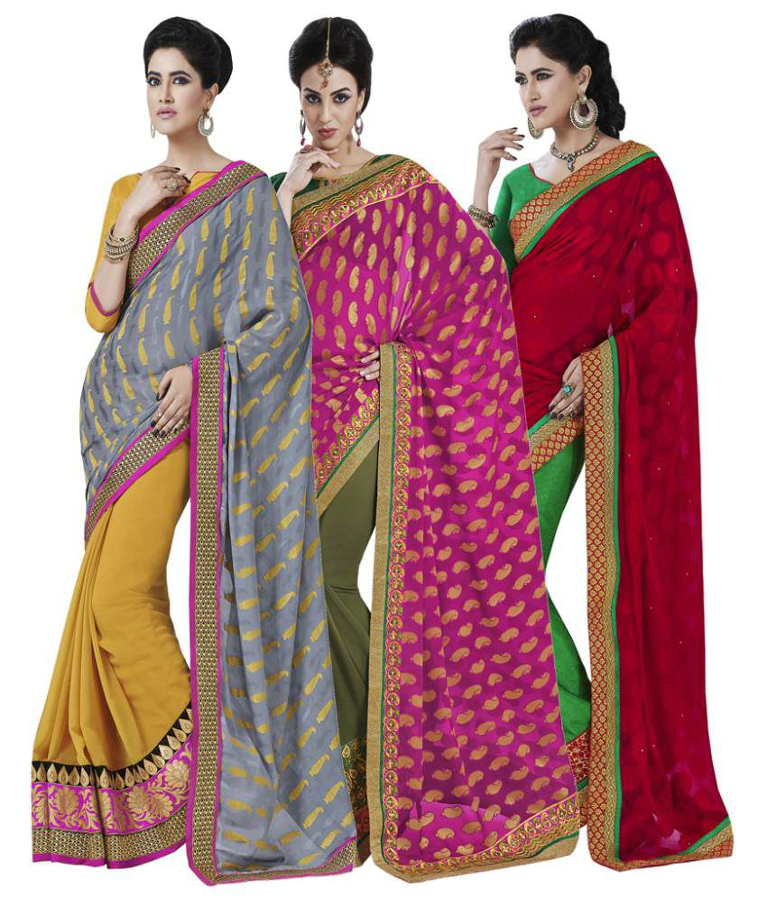 Bahubali Multicolor Georgette Jacquard, Jacquard, Fancy Jacquard Pack of 3