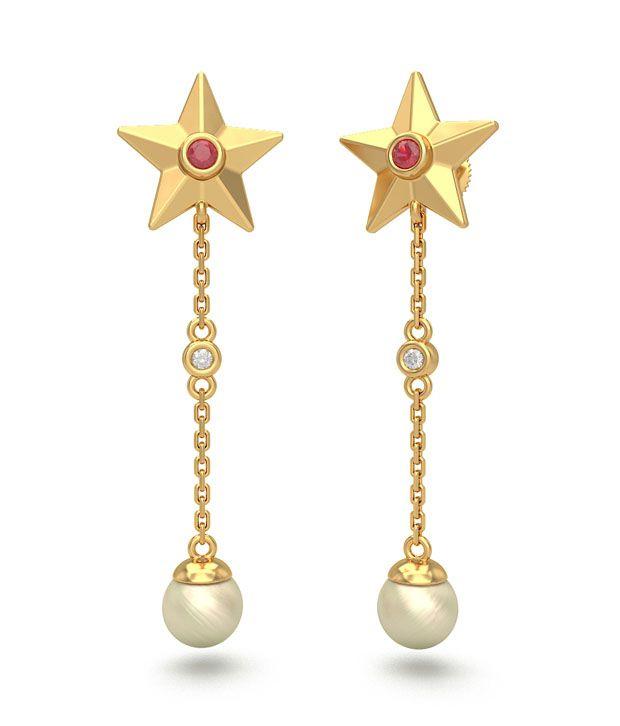 BlueStone 18K Yellow Gold Diamond, Pearl, Ruby Jenara Earrings
