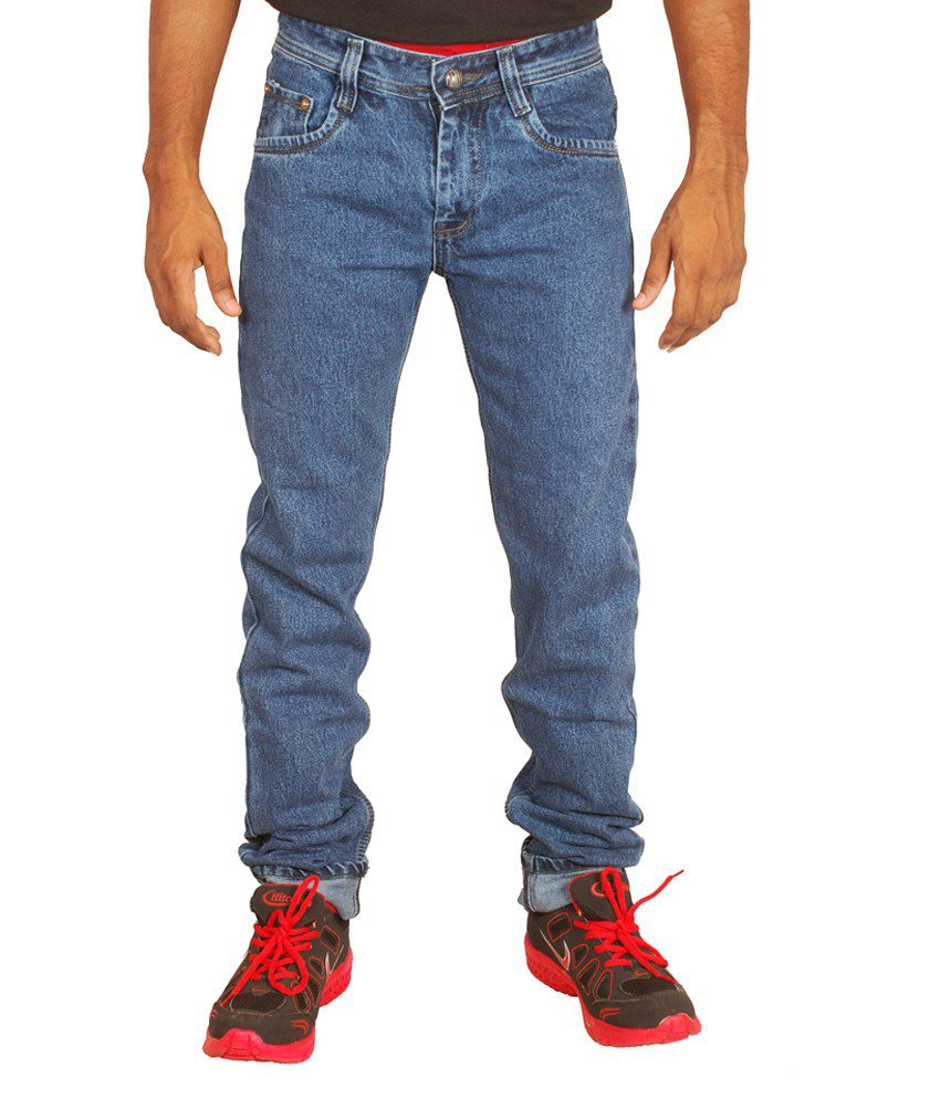 Wineglass Blue Cotton Fabric Non Stretch Denim Jeans