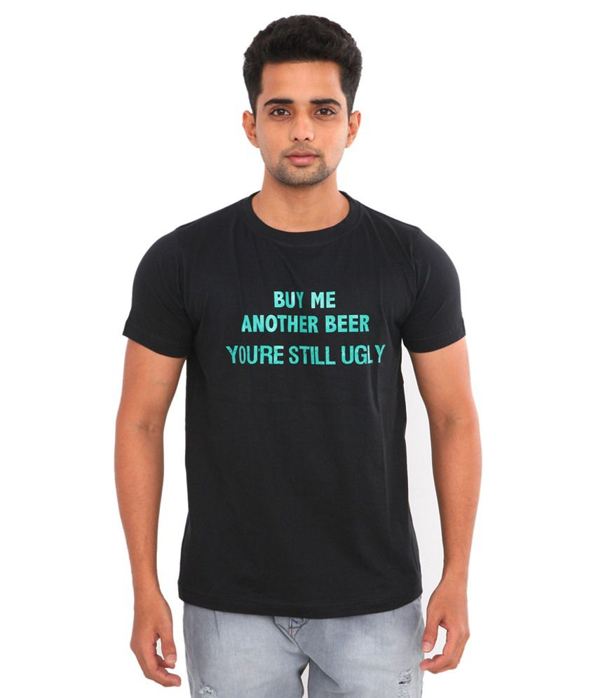 Brewink India Black Cotton Blend T-shirt