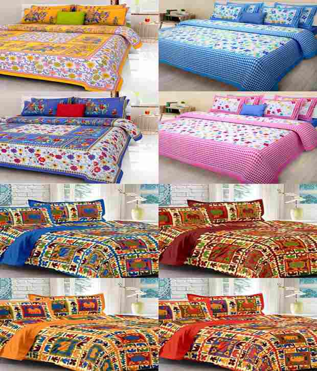 Kismat Collection Combo of 8 Multi Color Sanganeri Printed Cotton Double Bedsheets with 16 Pillow Covers