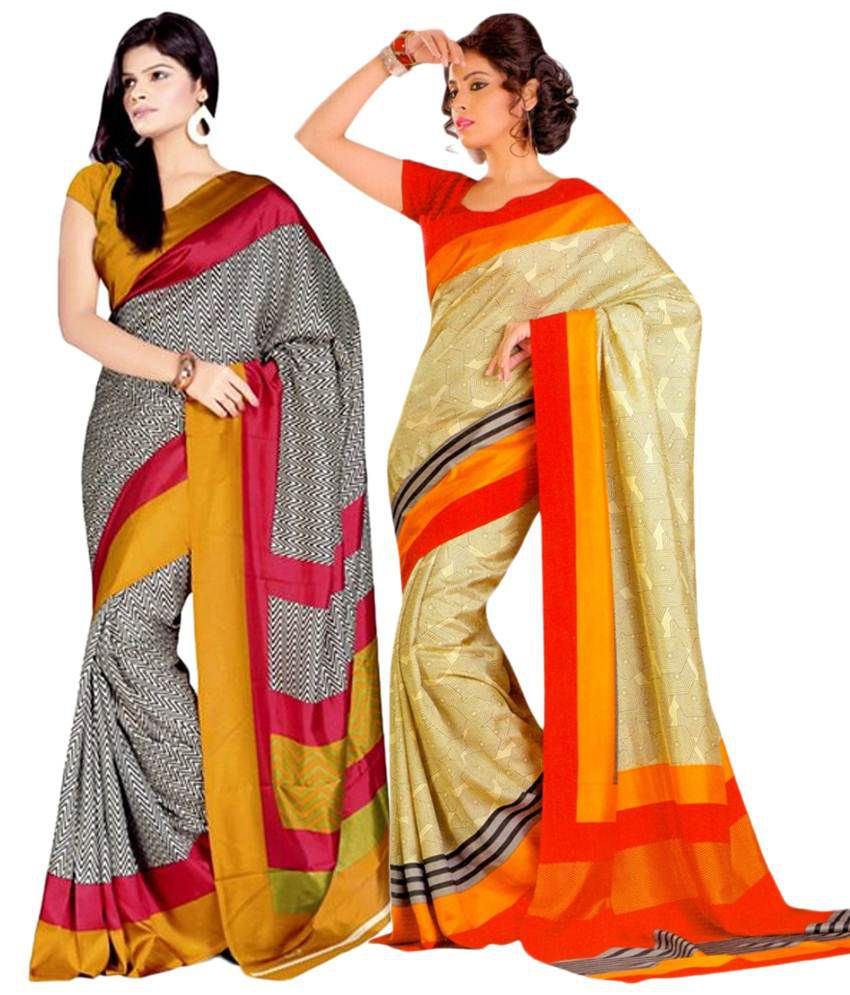 Miraan Pack of 2 Orange & Yellow Bhagalpuri Art Silk Sarees with Blouse Pieces