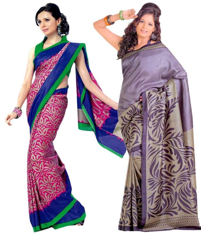 Miraan Pack of 2 Pink & Purple Bhagalpuri Art Silk Sarees with Blouse Pieces