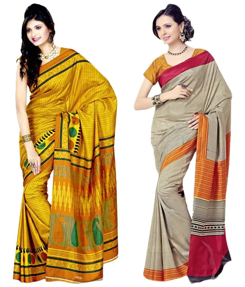 Miraan Pack of 2 Red & Yellow Bhagalpuri Art Silk Sarees with Blouse Pieces