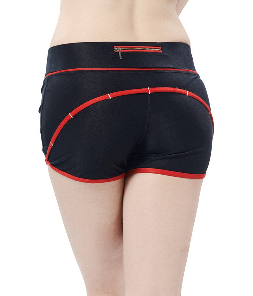 Restless Black & Red Stretchable Sports Shorts