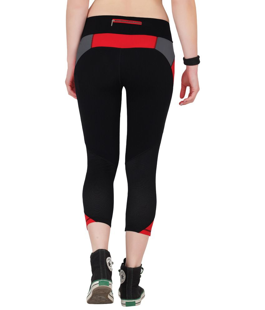 Restless Black & Red Stretchable Sports Calf Length Leggings