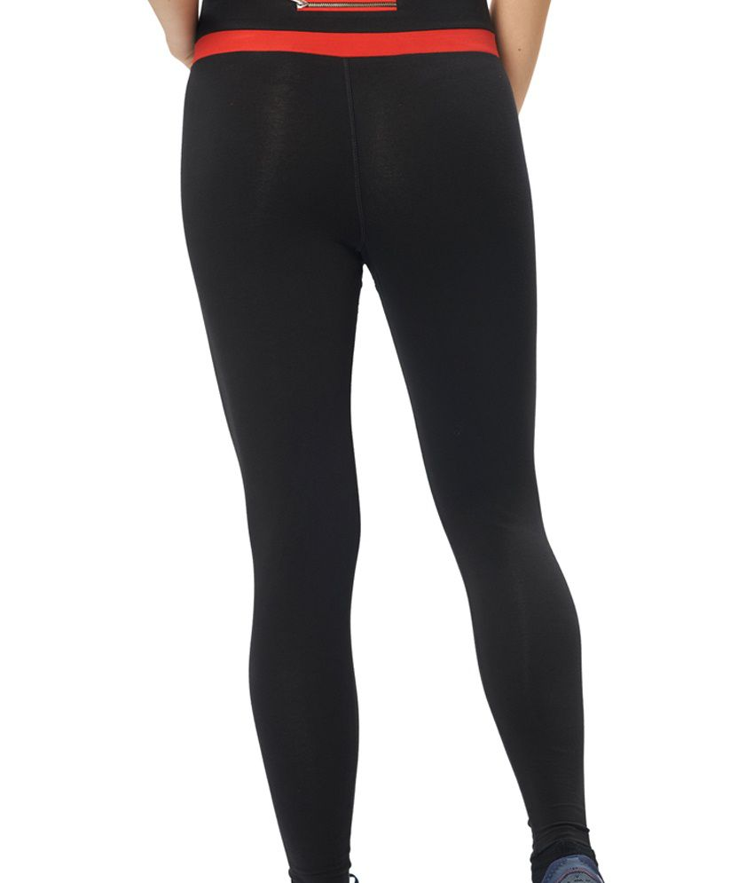 Restless Black & Red Stretchable Sports Leggings