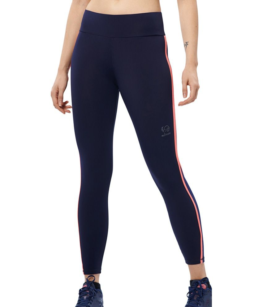 Restless Blue Stretchable Sports Calf Length Leggings