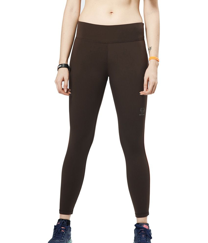 Restless Brown Stretchable Sports Calf Length Leggings