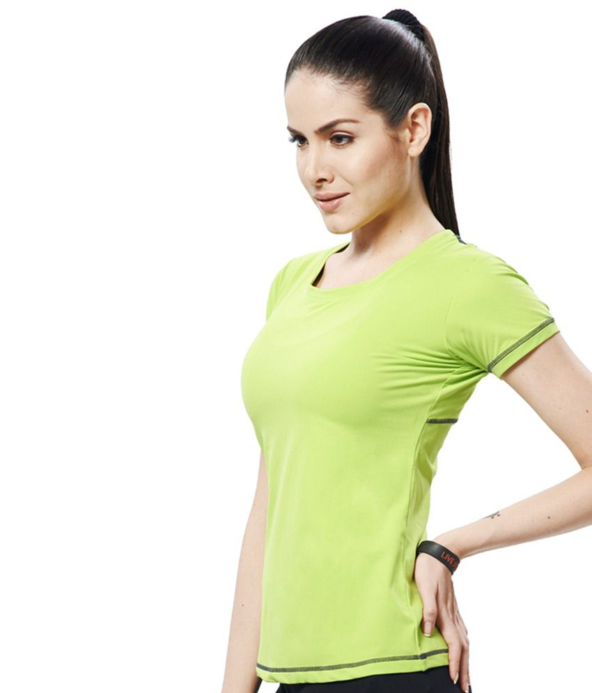Restless Green & Gray Stretchable Sports T Shirt