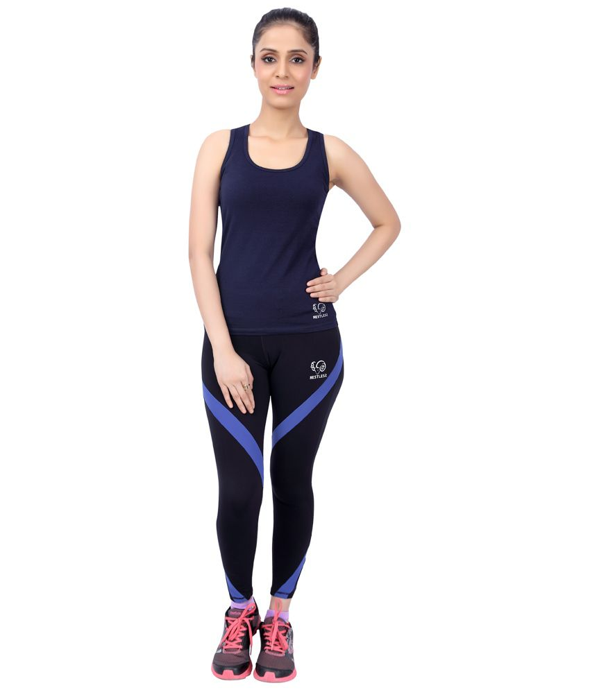 Restless Navy Blue Stretchable Singlet