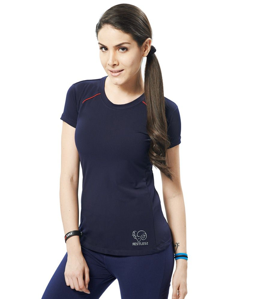 Restless Navy Blue Stretchable Sports T Shirt