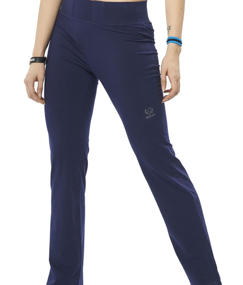Restless Navy Blue Stretchable Sports Trackpants