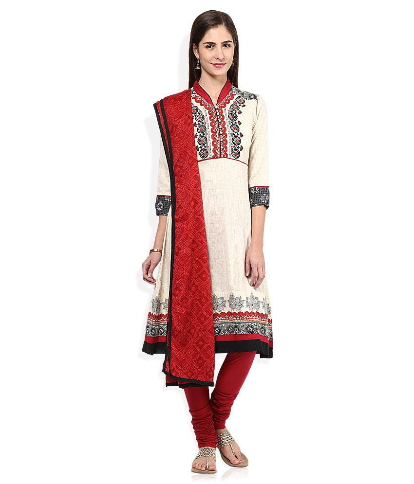 Biba Beige & Red Cotton Churidar Kurta With Dupatta