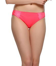 Clovia Pink Polyamide With Spandex,lace Panties