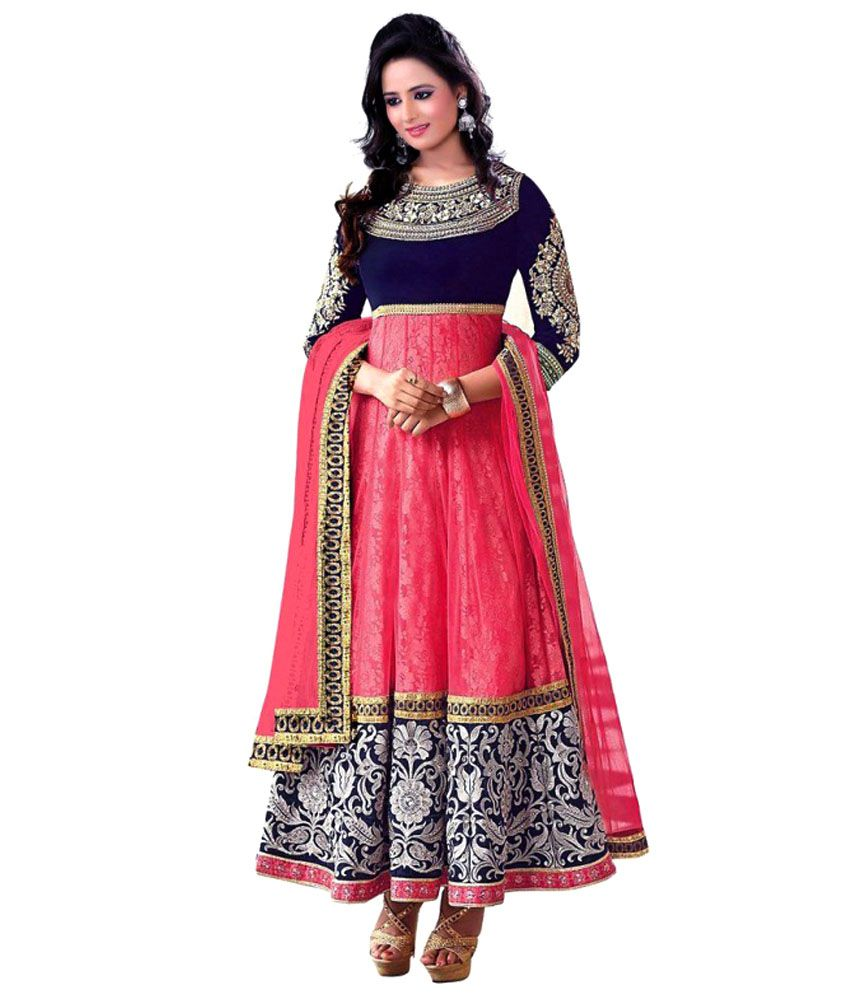 9d7b72de1 Paridhan Indian Ethnic Wear Red and Pink Chanderi Semi Stitched Suit