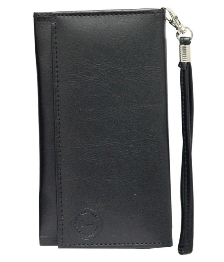 Jo Jo Wallet Case For Videocon Mobiles Z51q Star - Black