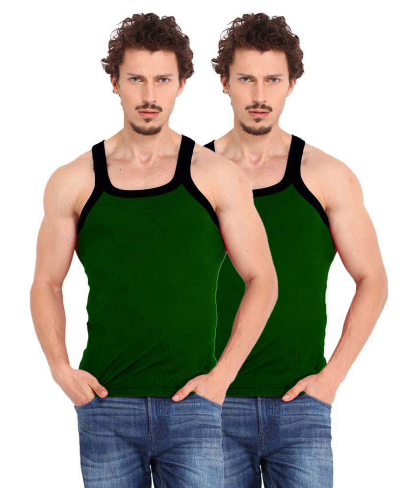 Tulsi Ram Fabrics Tulsi Ram Fabrics Green Cotton Vest Pack Of 2
