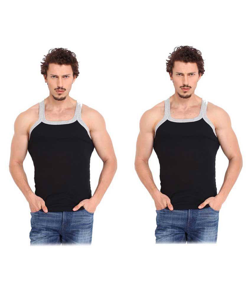 Tulsi Ram Fabrics Tulsi Ram Fabrics Black Cotton Vest Pack Of 2
