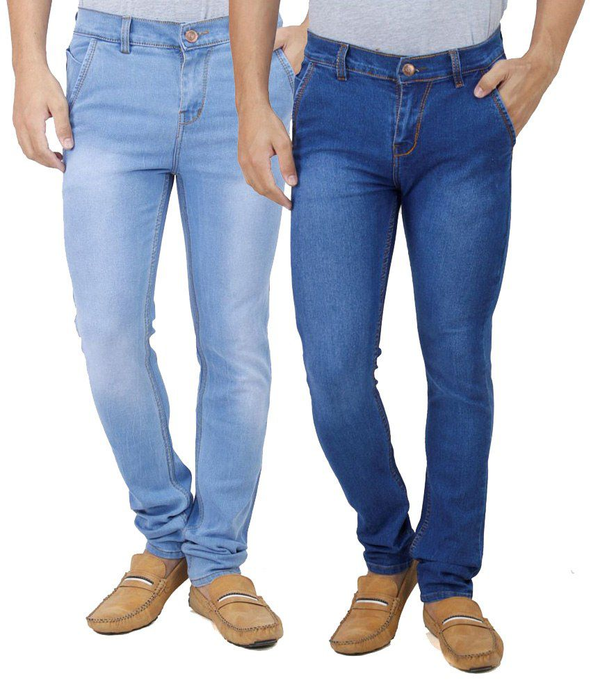 Ansh Fashion Wear Fashion Wear Blue Regular Fit Jeans - Pack Of 2
