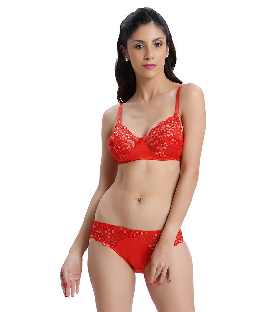 1f018ffb41642 Buy Bodyline Red Polyamide Spandex   Lace Bra   Panty Sets Online at Best  Prices in India - Snapdeal
