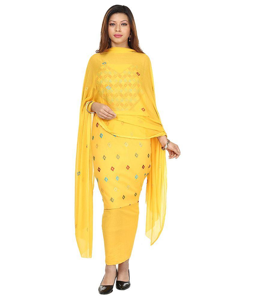 b06306b655 Punjab Di Kudi Yellow Cotton Semi Stitched Dress Material - Buy Punjab Di  Kudi Yellow Cotton Semi Stitched Dress Material Online at Best Prices in  India on ...