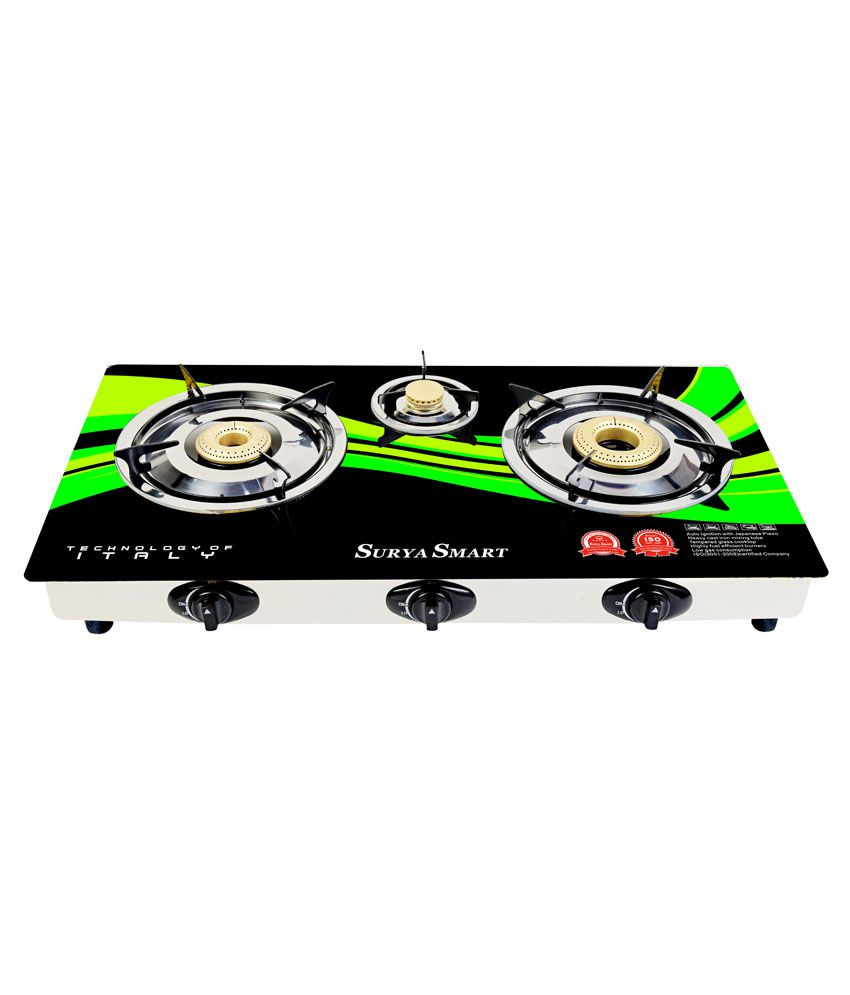 Surya Smart BE502G 3 Burner Auto Ignition Gas Cooktop