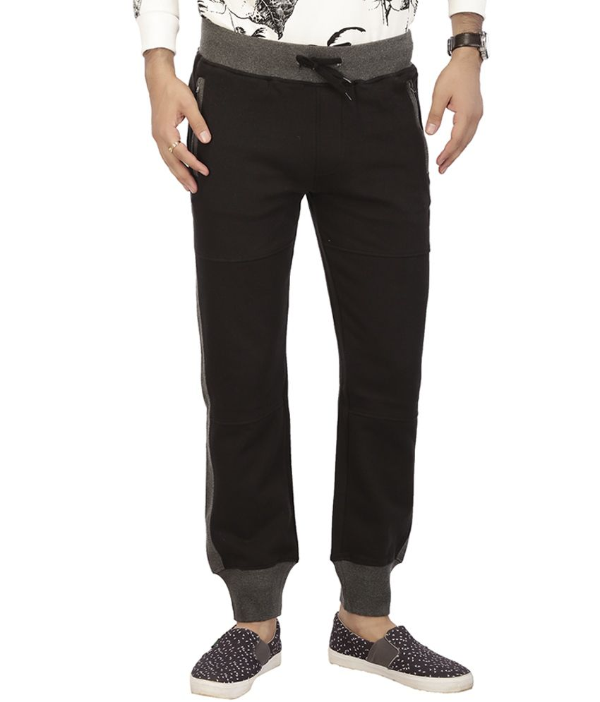 Acropolis Black Solid Flat Front Trousers