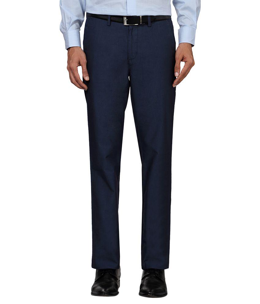 Allen Solly Navy Regular Fit Trousers