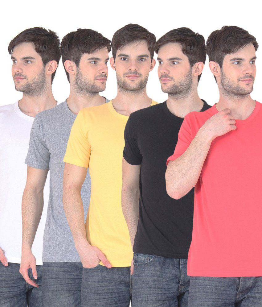Fnme Multicolor Cotton Blend T-shirt - Pack Of 5