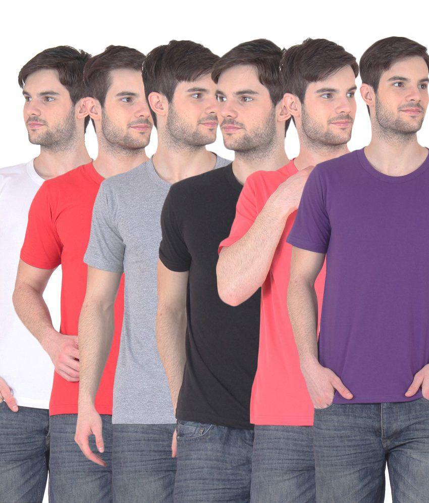 Fnme Multicolor Cotton Blend T-shirt - Pack Of 6