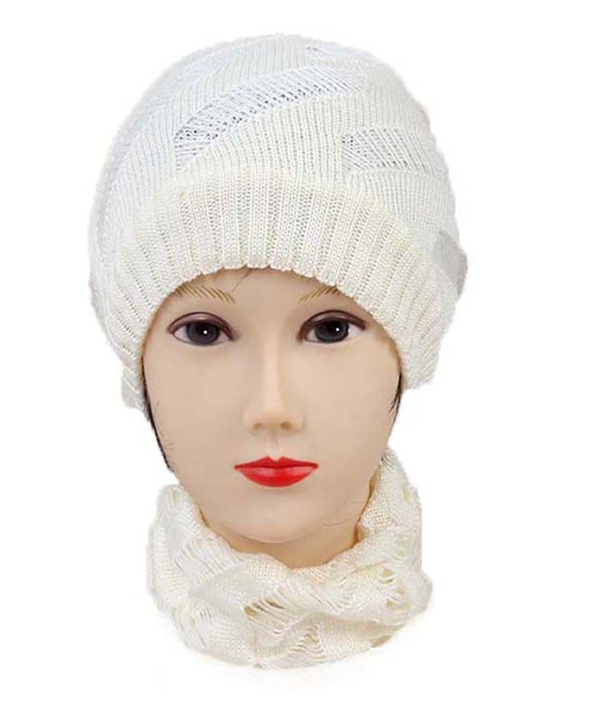 Isweven White Woollen Beanies Cap For Men