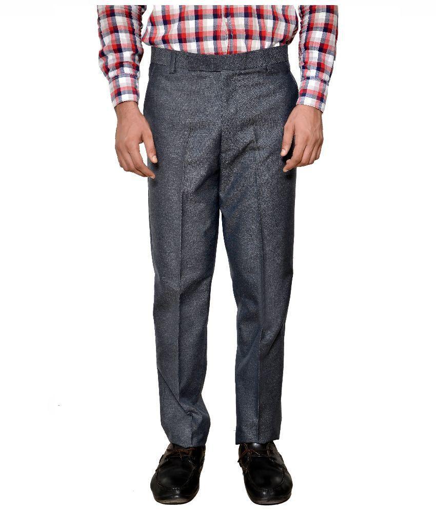 ARISTOGI Grey Regular Fit Formal Flat Trouser