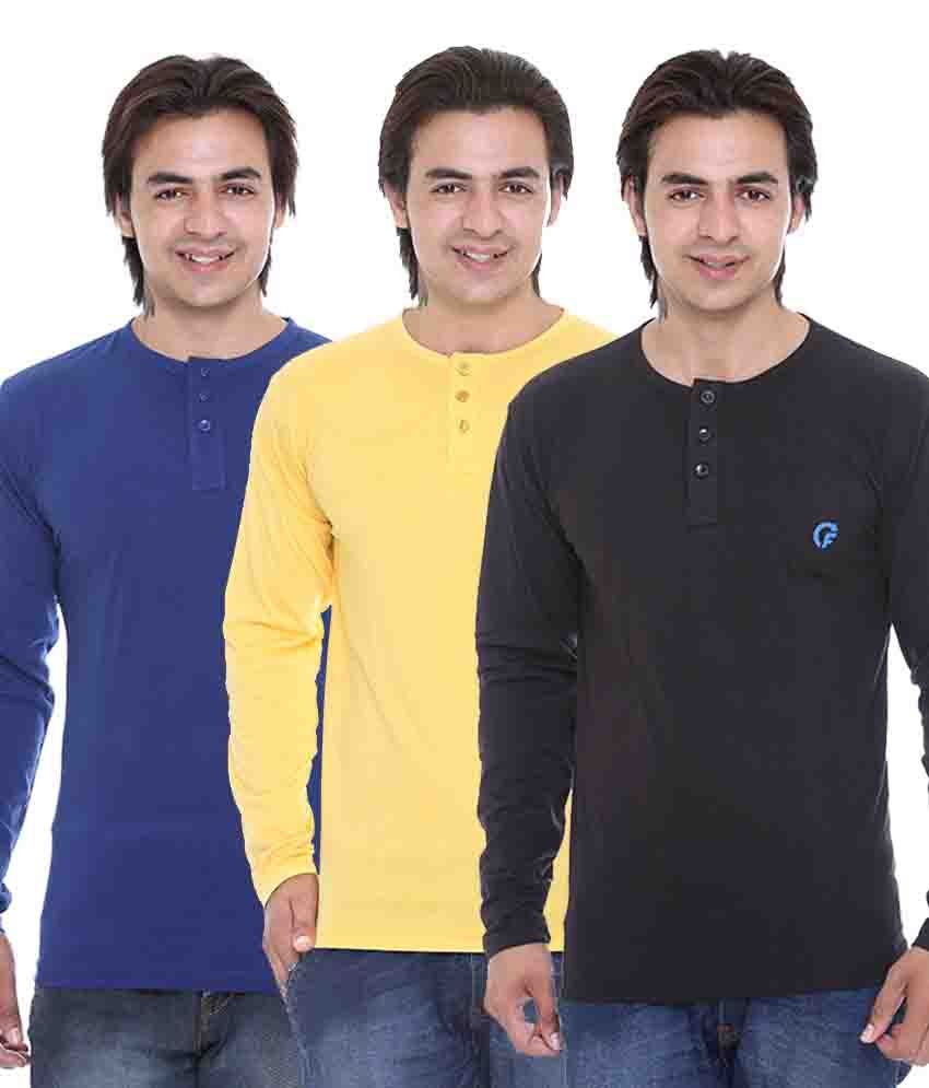 AVE Multicolor Cotton Blend T-Shirt - Pack Of 3
