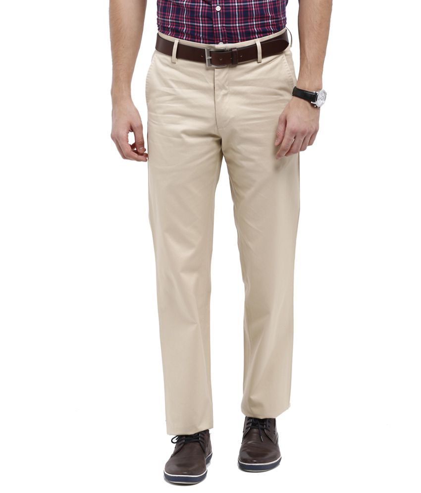 Allen Solly Beige Regular Fit Casual Trousers