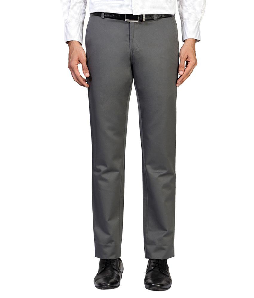 Allen Solly Grey Regular Fit Formal Trousers