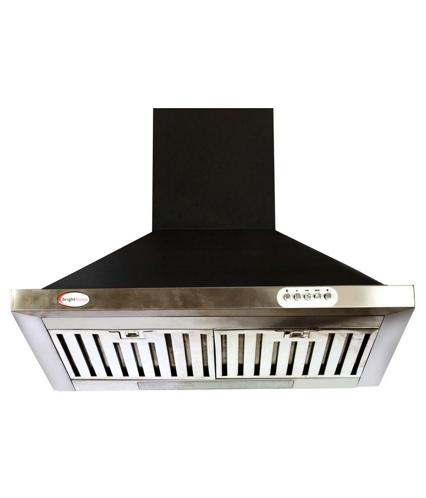 Brightflame Kitchen Chimney Lotus - Black with Stainless Steel  1100 M3/Hr Suction 60 cm