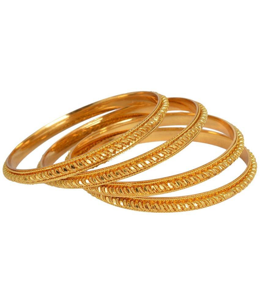 Hkj Golden Copper Bangle - Set Of 4