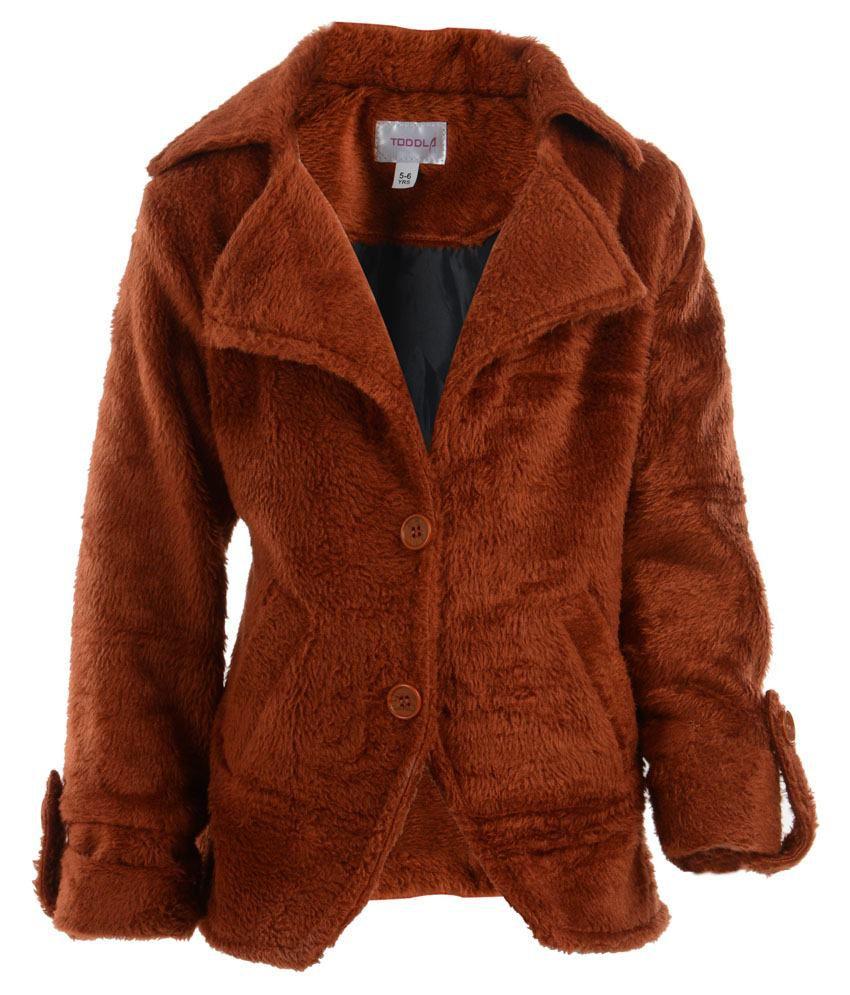 Toddla Brown Fleece Coat For Girls