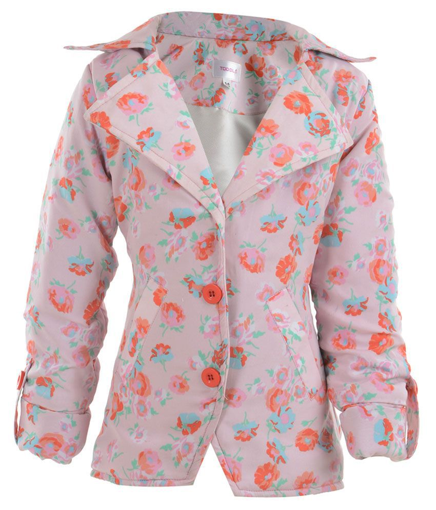Toddla Pink Crepe Coat For Girls