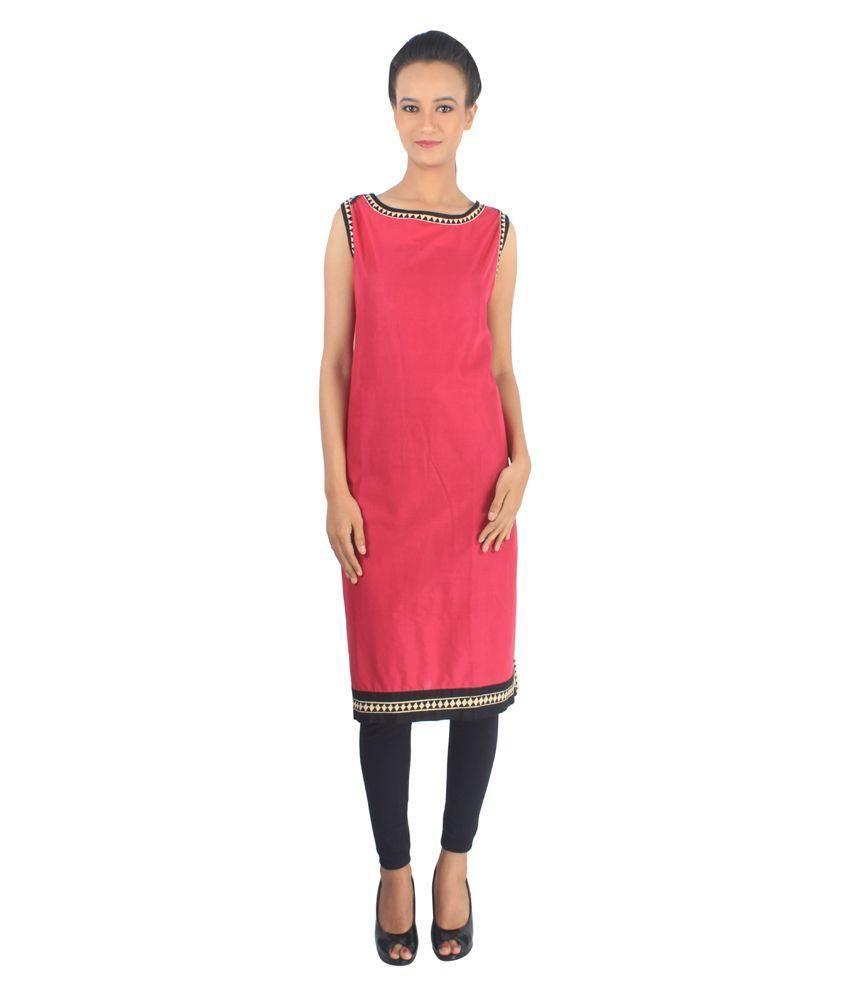ALZARA Pink Cotton Kurti