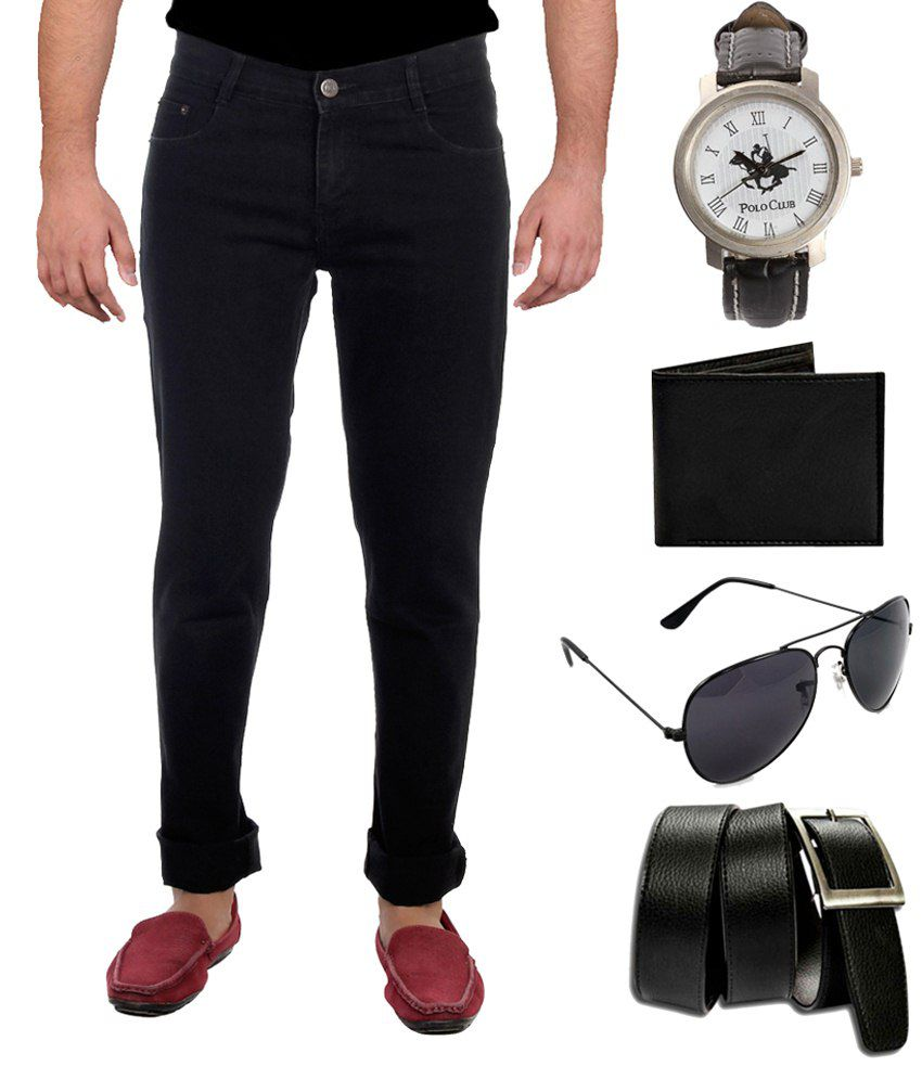 Ansh Fashion Combo Of Black Slim Fit Jeans With Watch, Sunglasses, Belt & Wallet For Men