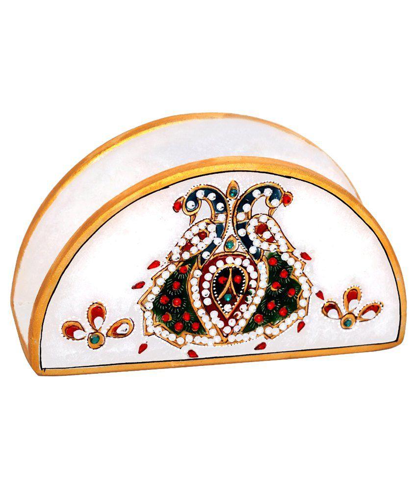 Handicrafts Paradise Marble Decorative Tissue Box Holder Multicolour