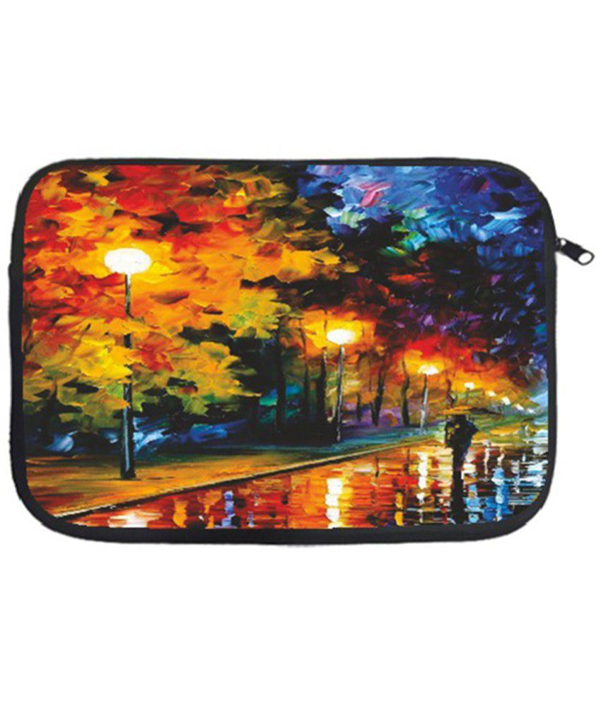 Printland Multicolor Padded Laptop Sleeves With Chain